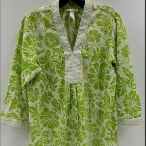 Oscar de la Renta, Green & Cream Floral Tunic, S